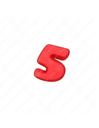 STAMPO IN SILICONE - NUMERI - 5 - ROSSO